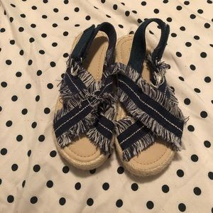 Other - Zara Denim Fringe Espadrilles Sandals